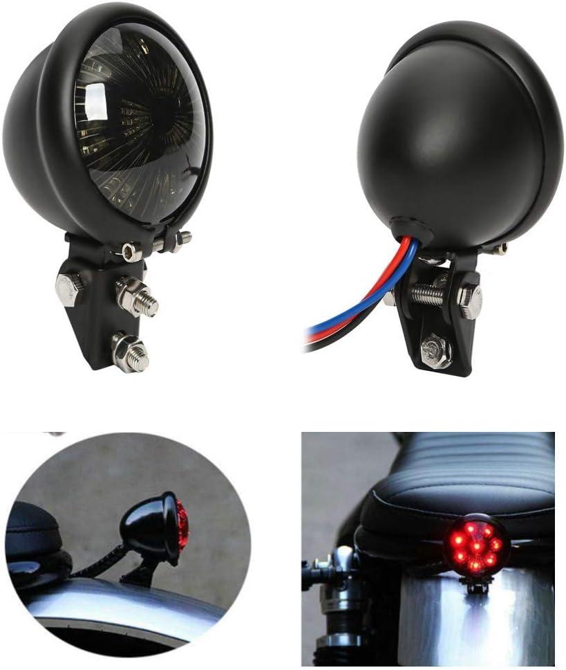 Semoic Feux Arri/èRe de Freins /à LED Feux de Freinage /à LED Feu Arri/èRe Int/éGr/é Bates pour Chopper Bobber ATVS Dirt Bike Caf/é Racer Buggy Custom Argent Noir
