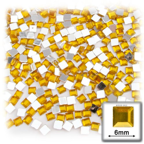 The Crafts Outlet 144-Piece Flat Back Square Rhinestones, 6mm, Golden Yellow (6sq Square)