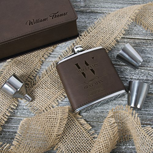 Set of 6, Set of 3, Single - Personalized Leatheratte Flask, Groomsmen Gift, Customized Groomsman Flasks, Wedding Favors, Design 6, Set of 6, Brown by United Craft Supplies (Image #2)