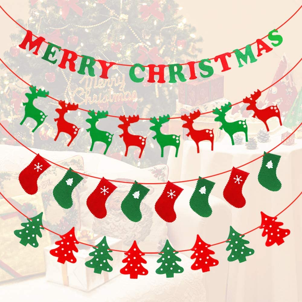 Lowki 4 Pack Merry Christmas Banners Include PhraseMerry Christmas Words Christmas Elements Shape of Trees//Reindeer//Socks Merry Christmas Decoration 10ft Each Pack