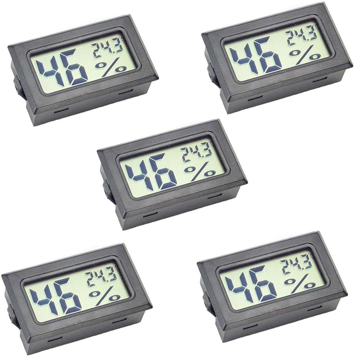 JEDEW 5-Pack Hygrometer Gauge Indoor Thermometer,Mini Digital LCD Monitor Temperature Outdoor Humidity Meter for Humidors Greenhouse Basement Cellar Closet, Measure in Fahrenheit (℉) (5 Pack)