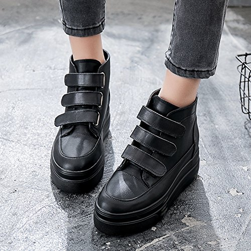 CYBLING Women High Top Hidden Heels Sneakers Anti-Slip Platform Black Leather Wedge Shoes 6l0Gmzk