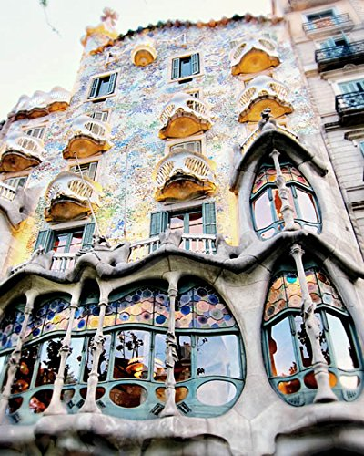 Barcelona travel photo Spain photography architectural decor Gaudi Building print by Audra Edgington Fine Art