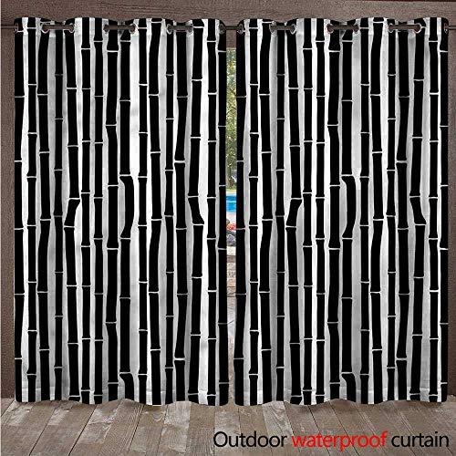 - cobeDecor Tropical Outdoor Curtain for Patio Black and White Stems W108 x L84(274cm x 214cm)
