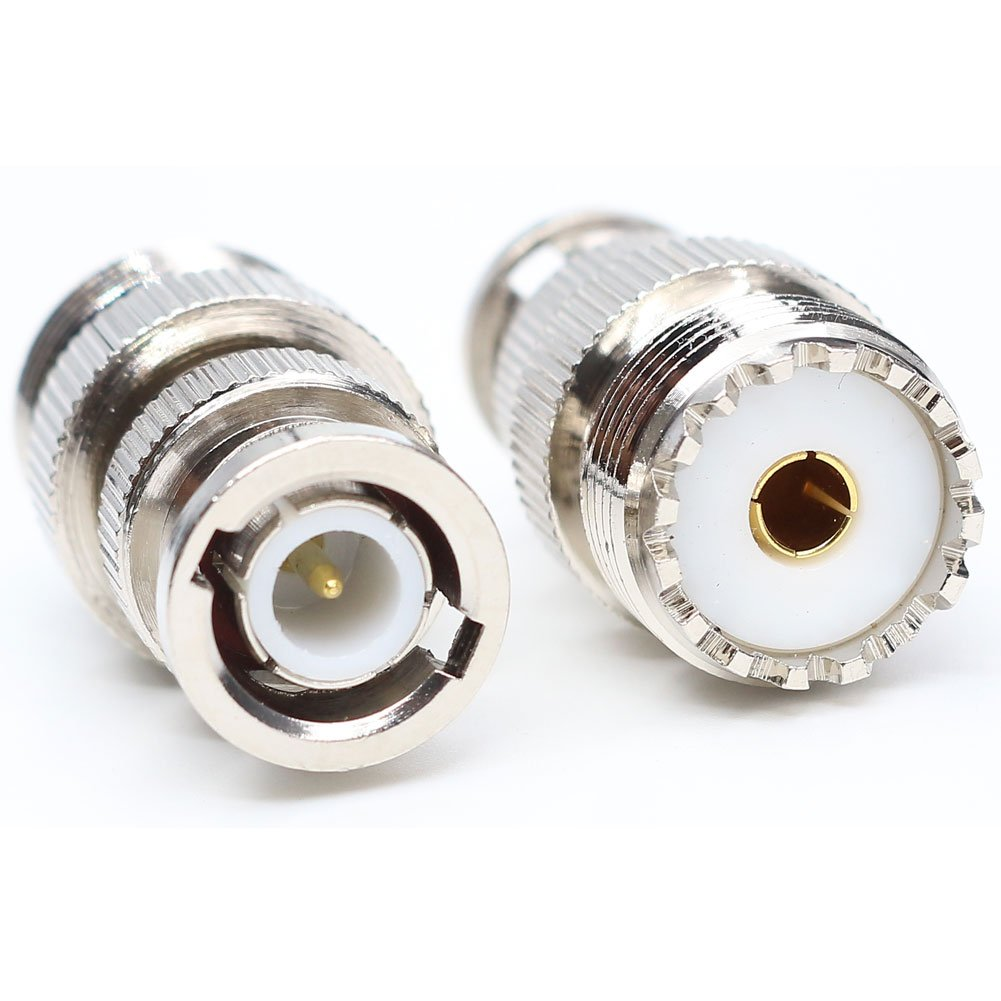 BNC Male Plug to UHF SO239 SO-239 Female Jack UHF to BNC RF coaxial Adapter Coax Cable Connector Adapter 2PACK