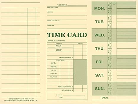 Employee Attendance Weekly Time Card Pack Of 250