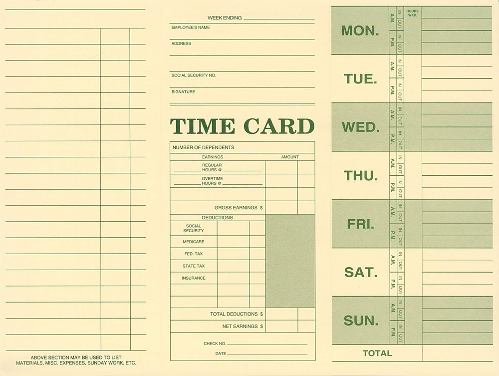 Employee Attendance Weekly Time Card (Pack of 250)