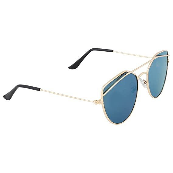 a125c5b25a Dervin Golden Frame Blue Shade Lens Oval Aviator Sunglasses for Men   Women   Amazon.in  Clothing   Accessories
