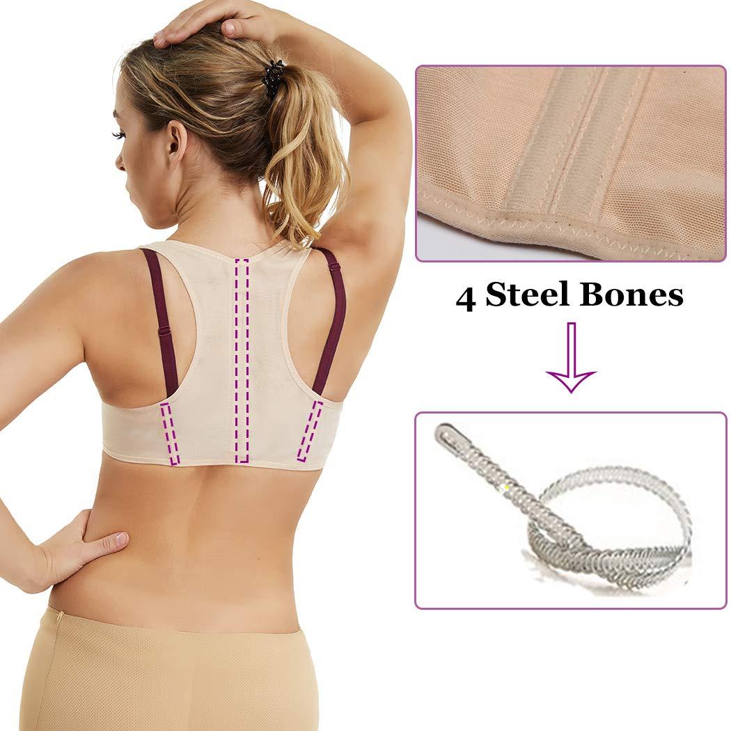 Back Support Vest Bra Top Posture Corrector for Women Breast Push Up Chest Hunchback Relief Humpback Correction Belt Band Brace Up Back Upper Shoulder Shapewear Body Shaper