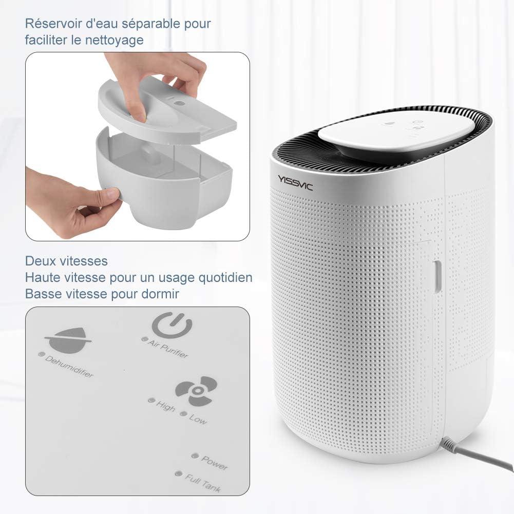 YISSVIC - Deshumidificador de aire de 1000 ml con filtro HEPA para eliminar 750 ml por día, deshumidificador ultrasilencioso para baño, dormitorio, cocina y oficina: Amazon.es: Bricolaje y herramientas