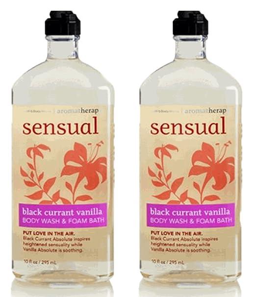 Bath and Body Works, Aromatherapy Sensual Black Currant Vanilla Body Wash & Foam Bath 10oz. per bottle (2 Pack)