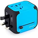 International Travel Power Adapter with 2.4A Dual USB Charger & Worldwide AC Wall Outlet Plugs for UK, US, AU, Europe & Asia - Built-in Spare Fuse, Gift Pouch - Blue