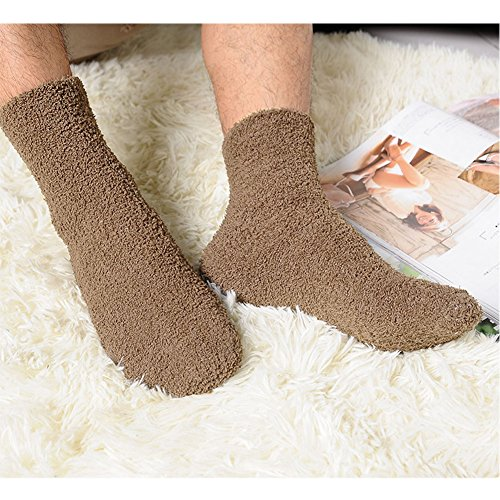 Slaxry Unisex Winter Warm Comfortable Fluffy Cashmere Socks Soft Fuzzy Floor Socks (Coffee)