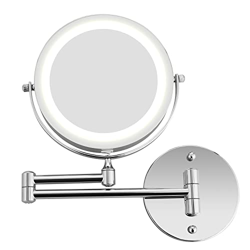 Himimi Makeup Mirror Wall Mount 5x Magnifying Mirror LED Lighted Cosmetic Vanity Mirror for Bathroom Two Sided Face Mirror, Powered by 4 x AAA Batteries not included