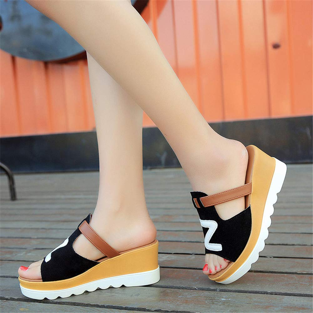 Mimi Soul Summer Solid Wedges Peep Toe Flatform Slippers Sandals Fashion Casual Shallow Slides Outside Shoes