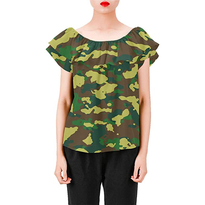 b9712c74cd4c2 Image Unavailable. Image not available for. Color: Military Camo Camouflage  Pattern Print Women's A-Line Chiffon Blouse ...