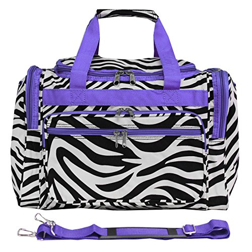 Trim Zebra Purple - World Traveler 81T16-163AP-1  Duffle Bag, One Size, Dark Purple Trim Zebra