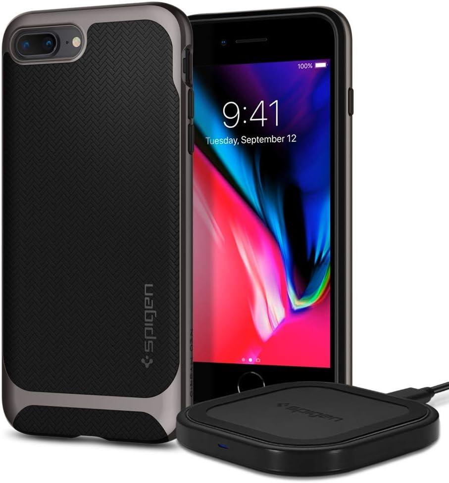 Spigen Neo Hybrid Designed for iPhone 8 Plus Case (Gunmetal) Bundle with Spigen SteadiBoost Compact Wireless Charger