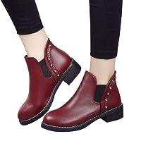 Sonnena bota corta martin - Zapatos planos de mujer remaches Martin Boots Botines de cuero con