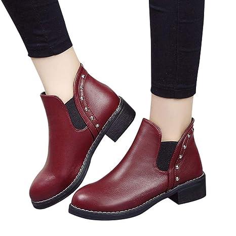 Sonnena bota corta Casual - Zapatos planos de mujer remaches Casual Boots Botines de cuero con