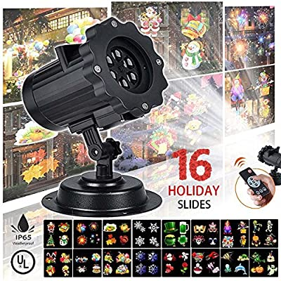 Projector Light 2017 Upgrade Version 16 Exclusive Design Slides IP65 Waterproof Garden Lamp Lighting for Christmas Halloween Holiday Party Wedding Garden Decoration