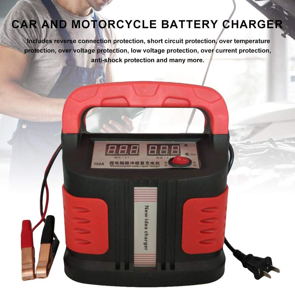 Universal Battery Charger 12V US Plug For Automobile Van Motorcycle LCD Display