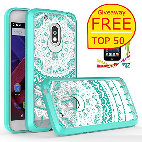 Moto G4 Play Clear Case with HD Screen Protector,(NOT FIT MOTO G4) AnoKe [Scratch Resistant]Colors Totem Mandala Folwer Bumper Hybrid Slim Fit Protective For Motorola G4 Play- TM CH - Home Remove At Car Scratches