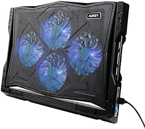 AUKEY CP R2 Support Refroidisseur réglable pour Ordinateur Portable 12 17 Pouces, 5 Positions, avec 4 Ventilateurs à LED, 2 Ports USB