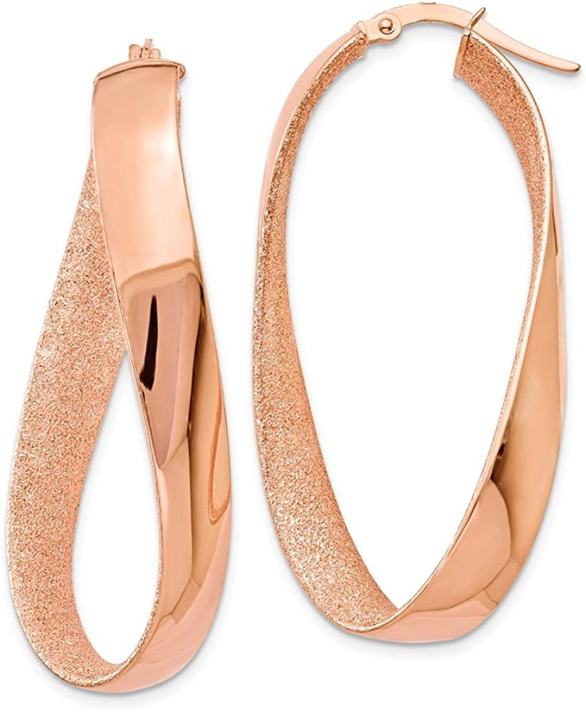 14K Rose Gold-PLATED Satin and Polished Twisted Hoop Earrings