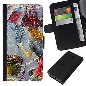 All Phone Most Case / Oferta Especial Cáscara Funda de cuero Monedero Cubierta de proteccion Caso / Wallet Case for LG OPTIMUS L90 // Ciclistas lluvia Paraguas