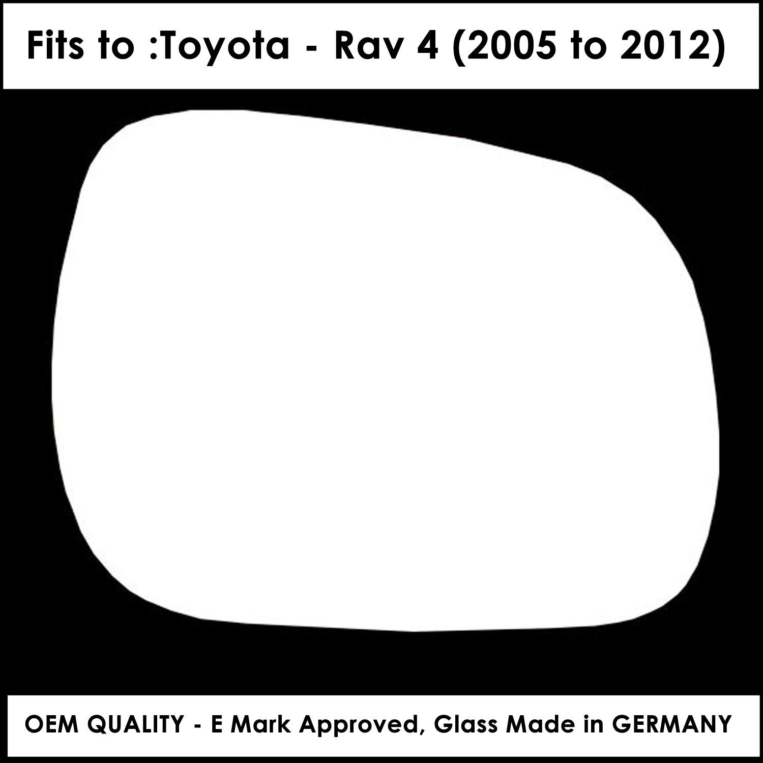 Driver Side TO-Rav 4 2005 to 2012 Silver Wing//Door Mirror Glass RH