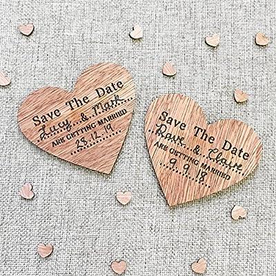 Imanes para la nevera de madera con forma de corazón con el texto ...