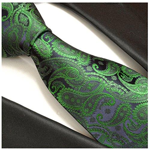 Cravate homme vert bleu paisley 100% cravate en soie ( longueur 165cm )