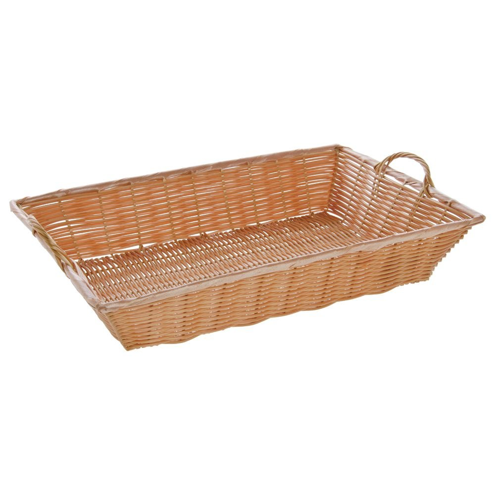 20'' x 13 1/2'' x 4 Large Synthetic Wicker Baskets with Handles, Natural