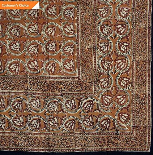 Kaputar Hand Block Print Dabu Tablecloth Rectangular 60x90 inches Floral Blue Brown Red | Model TBLCLTH - 836 |