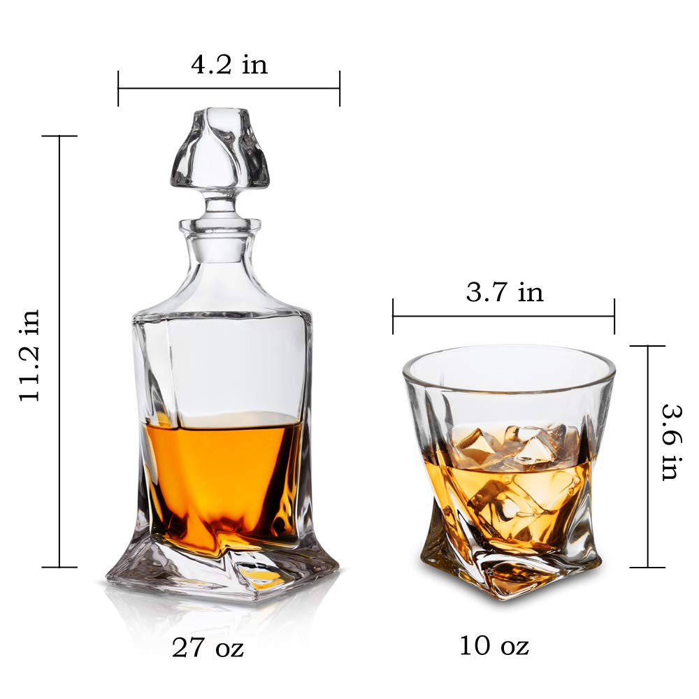 KANARS Twist Whiskey Decanter Set With 4 Glasses In Luxury Gift Box - Original Lead Free Crystal Liquor Decanter Set For Scotch or Bourbon, 5-Piece by KANARS (Image #4)