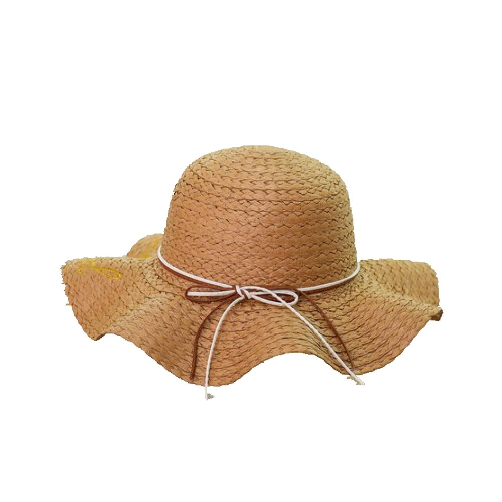 AOBRITON Big Brim Ladies Embroidery Summer Straw Sun Hat for Travel Swimming Beach