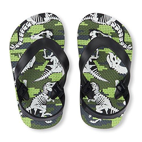 The Children's Place Boys' TB Dino FF Flat Sandal, Black, TDDLR 8-9 Medium US Infant