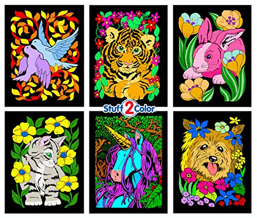 Stuff2Color Dove, Bunny, Kitten, Puppy, Unicorn, Tiger Cub - Six Fuzzy Velvet Posters