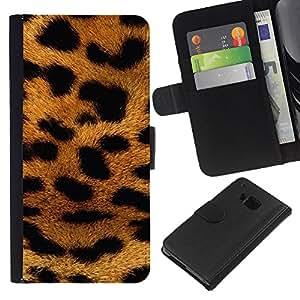KingStore / Leather Etui en cuir / HTC One M7 / Piel oro de Brown Spots Pattern