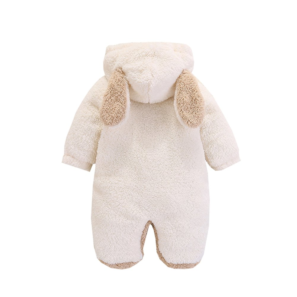 AIKSSOO Infant Baby Boy Girl Winter Outfit Hooded Thick Fleece Romper Outwear
