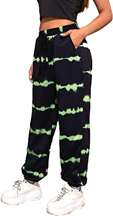 Romwe Women S Tie Dye Jogger Pants Sweatpants With Pocket Workout Active Yoga Running Pants At Amazon Women S Clothing Store