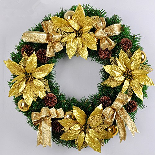 Christmas Garland for Stairs fireplaces Christmas Garland Decoration Xmas Festive Wreath Garland with Christmas wreath Christmas knocker,picture color,50cm by Caribou Furniture And Decor
