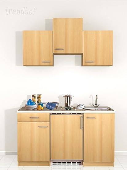 Single Kitchen Pantry Kitchen Office Kitchen Sink Chef Plates Kitchen 150 Cm Beech Amazon De Large Appliances