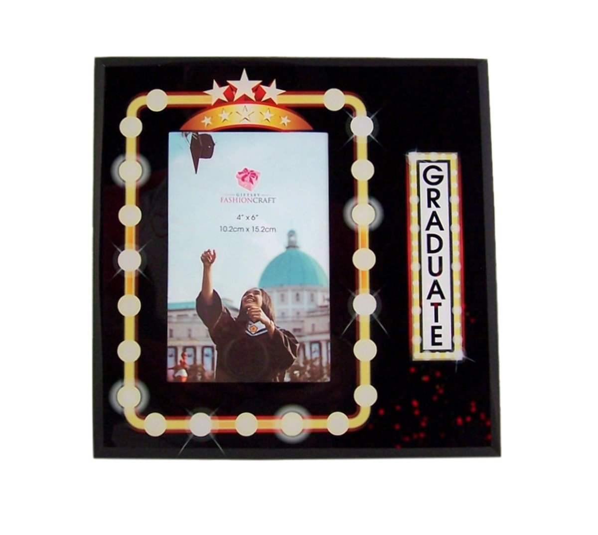 Graduate Hollywood Marquee Style Glass Graduation Picture Frame Keepsake, 4 x 6 Inch