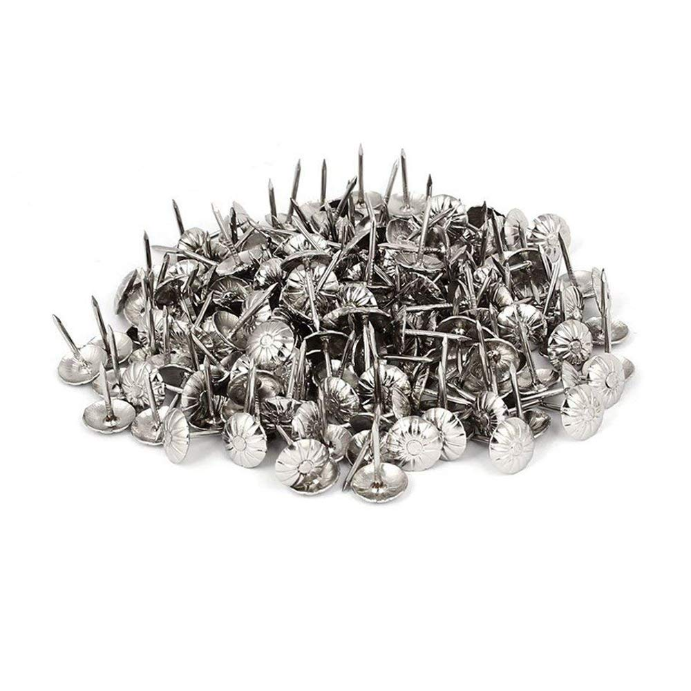 Sydien 200 Pcs Home Decorative Nails for Furniture Decor Dia Upholstery Tack Nail Silver Tone(11mmx16mm)
