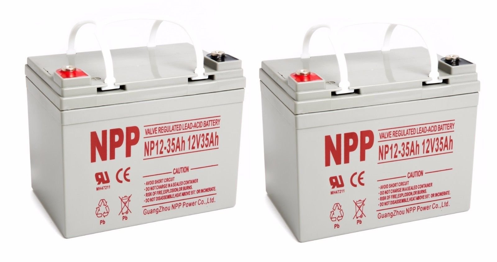 NPP 12V 35 Amp NP12 35Ah Rechargeable Sealed Lead Acid Battery With Button Style Terminals / Pack 2
