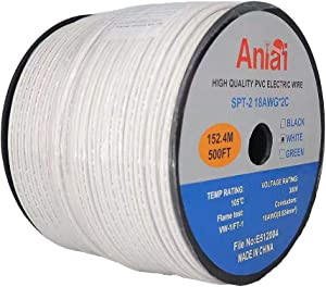 Aniai 18 Guage /2 SPT-2 Bulk Extension Lamp Cable, Connectable Wire,Cord for Light and Lamp,300 Volt 18 Gauge Zip Cord Spool, UL Listed, White, Black or Green (500FT, SPT2-18AWG White)