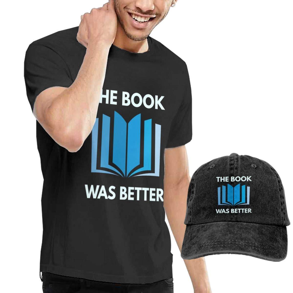 QQWBB The Book was Better T-Shirt Short Sleeve Denim Hat Men