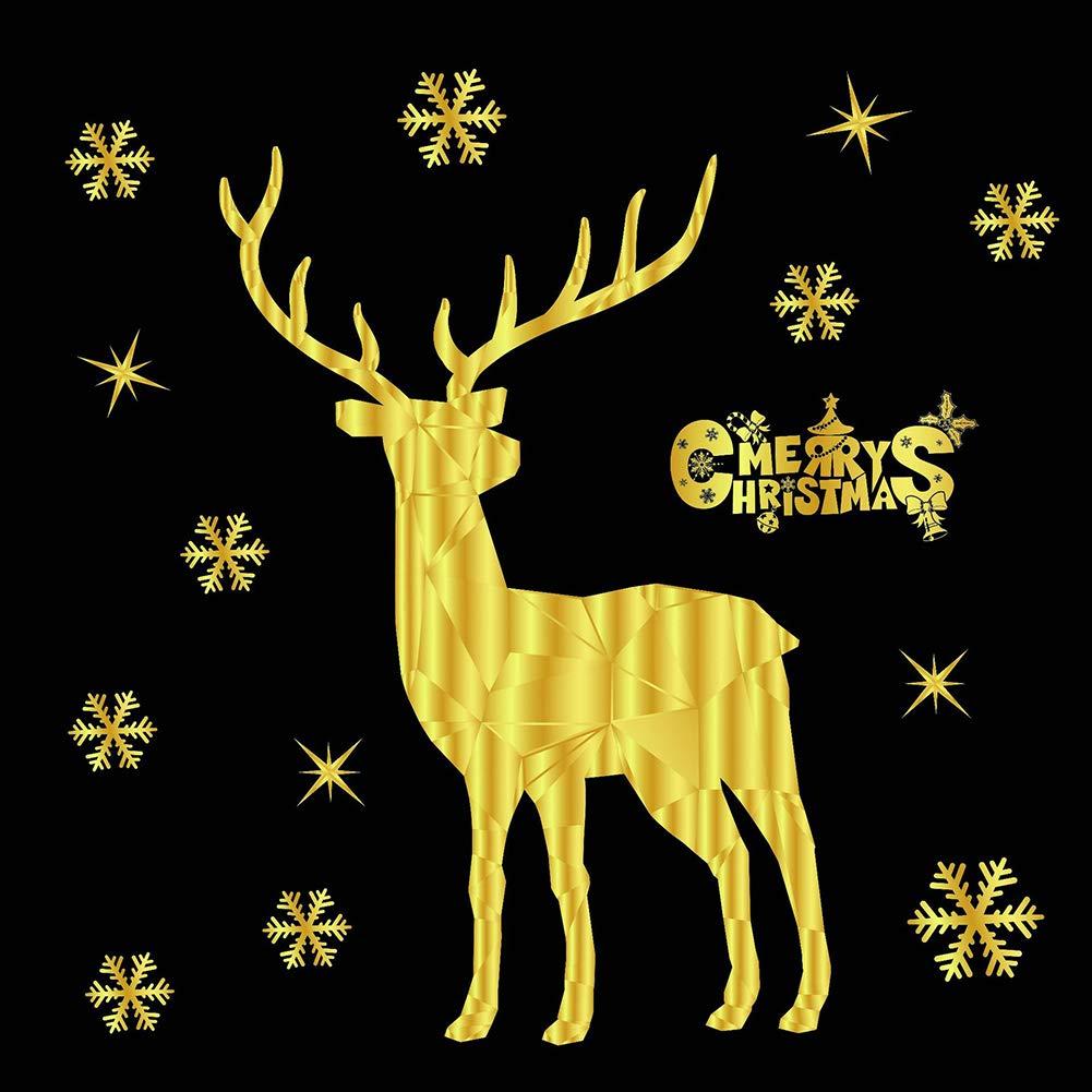 Slri SIridescentZB Finestra dell'autoadesivo statico Glueless dell'aerostato del Cervo del Fiocco di Neve dell'albero di Natale Decorazioni 1#